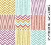9 seamless zigzag patterns.... | Shutterstock .eps vector #624235853