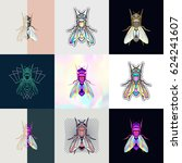 set of fly logos. abstract... | Shutterstock .eps vector #624241607