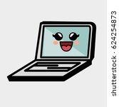 laptop computer character... | Shutterstock .eps vector #624254873