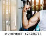 arm and muscle of senior strong ... | Shutterstock . vector #624256787