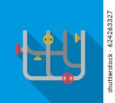 pipes with valves icon in flat... | Shutterstock .eps vector #624263327