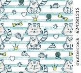 cute kitten. vector seamless... | Shutterstock .eps vector #624281213