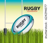 rugby ball with field and post... | Shutterstock .eps vector #624294077