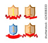 shield and ribbon red set.... | Shutterstock .eps vector #624308333