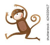 funny monkey animal cartoon.... | Shutterstock .eps vector #624320417