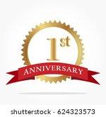 golden first anniversary logo... | Shutterstock .eps vector #624323573