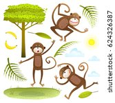 funny monkeys friends with tree ... | Shutterstock .eps vector #624326387