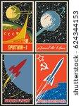 vector soviet space propaganda... | Shutterstock .eps vector #624344153