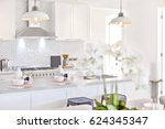 modern kitchen with white... | Shutterstock . vector #624345347