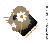 the beaver and a daisy flower... | Shutterstock .eps vector #624347183