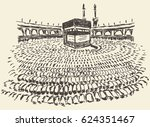 holy kaaba in mecca saudi... | Shutterstock .eps vector #624351467