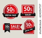 sale labels with black ribbons | Shutterstock .eps vector #624354737
