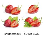 collection of fresh strawberry... | Shutterstock . vector #624356633