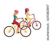 young woman riding bicycle ... | Shutterstock .eps vector #624382847