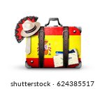 spain  vintage suitcase with... | Shutterstock . vector #624385517
