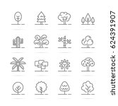 tree vector line icons  minimal ... | Shutterstock .eps vector #624391907