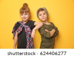 cute stylish children on color... | Shutterstock . vector #624406277