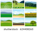 set of agricultural fields.... | Shutterstock .eps vector #624408263