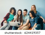 group of people are looking to... | Shutterstock . vector #624419357