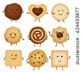 cute cartoon funny cookies ... | Shutterstock .eps vector #624433877