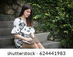 asian beautiful young woman... | Shutterstock . vector #624441983