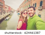 couple of lovers on vacation in ... | Shutterstock . vector #624461387