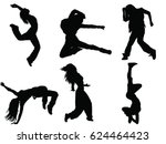 set of female dancer silhouette | Shutterstock .eps vector #624464423