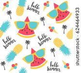 summer pattern. watermelon ... | Shutterstock .eps vector #624464933