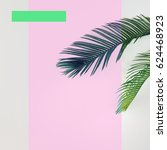 tropical palm leaves on bright... | Shutterstock . vector #624468923