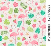 pastel tropical summer seamless ... | Shutterstock .eps vector #624470333