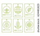 vector green set of labels in... | Shutterstock .eps vector #624481823