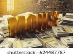 pile of dollar money with... | Shutterstock . vector #624487787