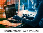 working at home with laptop... | Shutterstock . vector #624498023