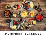 dining table. a variety of food ... | Shutterstock . vector #624520913