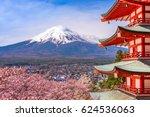 fujiyoshida  japan at chureito... | Shutterstock . vector #624536063