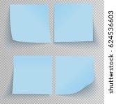 set of office blue sticky... | Shutterstock .eps vector #624536603