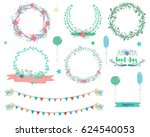floral wreaths collection.... | Shutterstock .eps vector #624540053