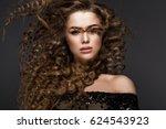 beautiful brunette girl in move ... | Shutterstock . vector #624543923