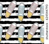 cartoon sneakers seamless... | Shutterstock .eps vector #624544793