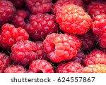 fresh raspberries. macro image. | Shutterstock . vector #624557867