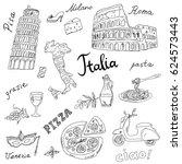 set of italy symbols landmarks...   Shutterstock .eps vector #624573443