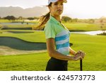 portrait of young female golfer ... | Shutterstock . vector #624573773