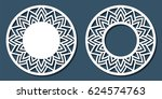vector stencil lacy round frame ... | Shutterstock .eps vector #624574763