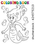 coloring book mermaid topic 1   ... | Shutterstock .eps vector #624575213