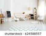 cozy modern bedroom designed in ... | Shutterstock . vector #624588557