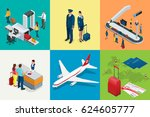 isometric airport travel and... | Shutterstock .eps vector #624605777
