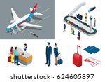 isometric airport travel and...   Shutterstock .eps vector #624605897