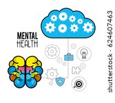 mental health brain with care... | Shutterstock .eps vector #624607463