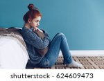young alone depressed girl at... | Shutterstock . vector #624609473