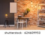 loft apartment with brick wall  ... | Shutterstock . vector #624609953